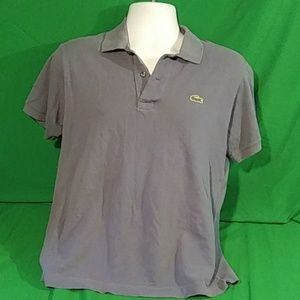 Lacoste mens size 4/small blue/gray polo shirt